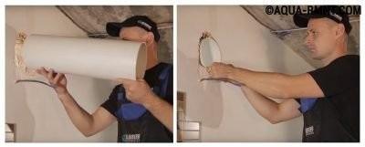 Вставляют воздуховод в отверстие в стене