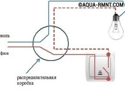 Принципиальная схема подключения одноклавишного выключателя
