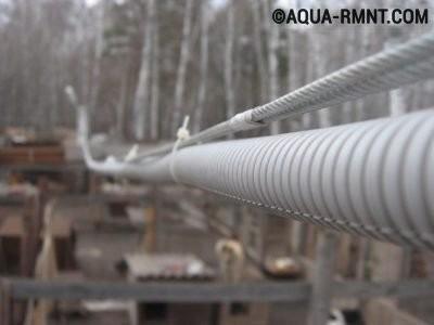 Закрепление кабеля на тросе