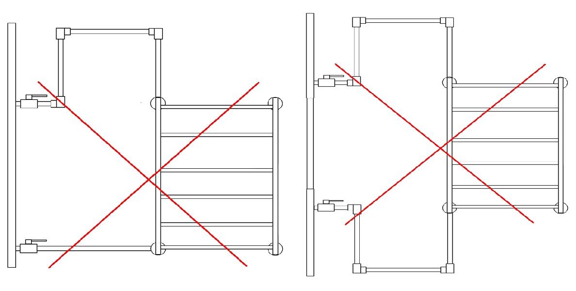 Ошибки монтажа полотенцесушителей - 2