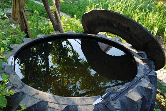 Самодельный бассейн из большой покрышки