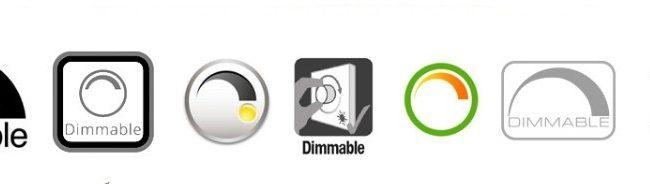 Знаки на упаковке со светодиодными лампами, обозначающие совместимость с диммером
