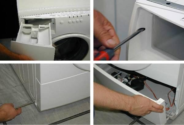 Отсоединение нижней панели стиральной машины