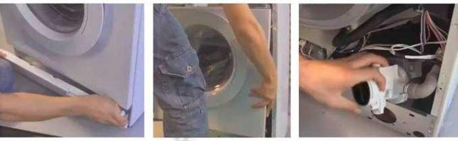 Демонтаж фронтальной стенки стиральной машины