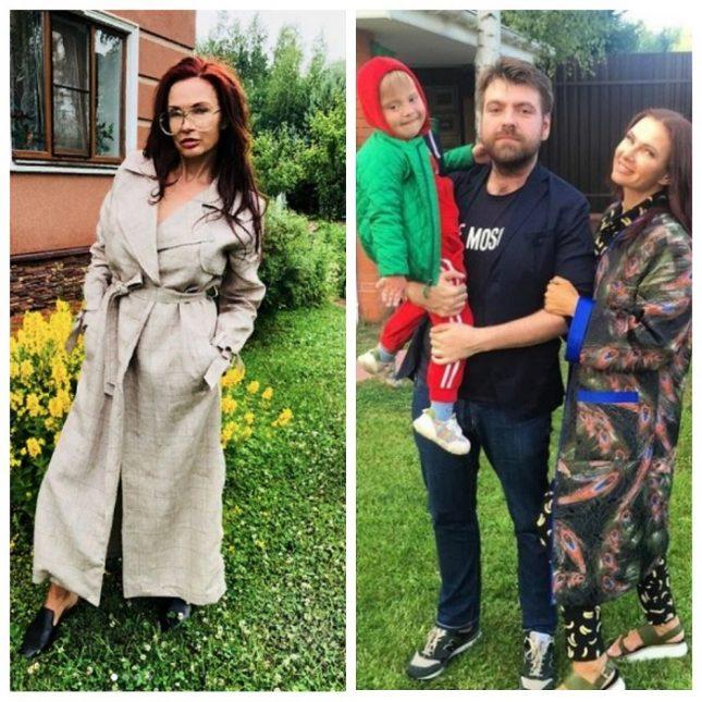 Эвелина Блёданс с семьёй