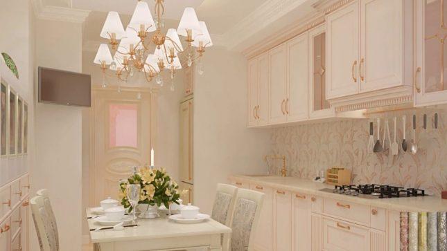 Маленькая кухня со светлыми обоями