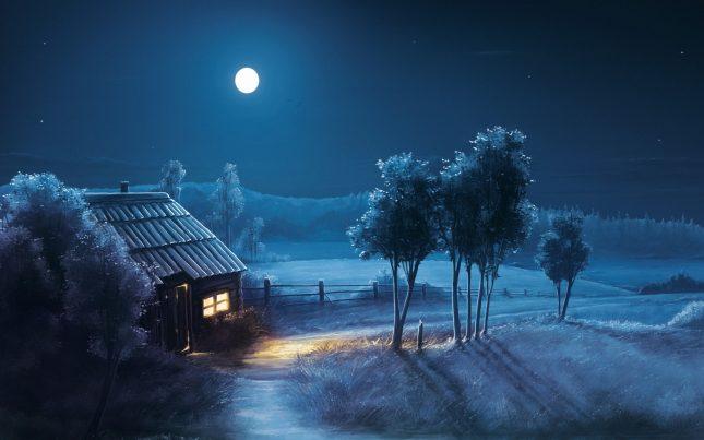 Избушка лунной ночью