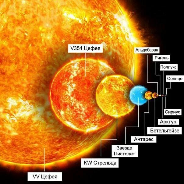 Сравнение размеров звёзд