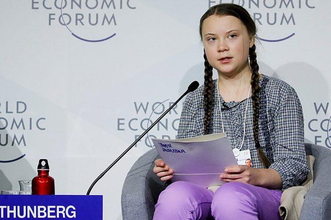 Грета Тунберг на Всемирном экономическом форуме в Давосе